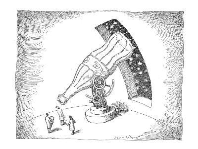 Astronomers use giant coke bottle as a telescope. - New Yorker Cartoon