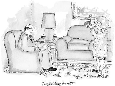 """""""Just finishing the roll?"""" - New Yorker Cartoon"""