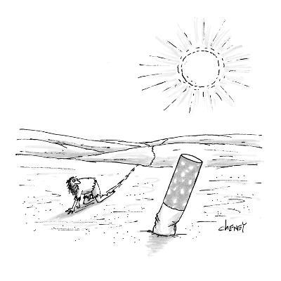Man crawling through desert finds a giant cigarette butt in the sand. - New Yorker Cartoon