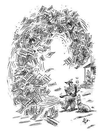 Man with a leaf blower clears his yard of campaign signs and flyers readin… - New Yorker Cartoon