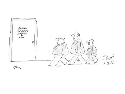 Picture of three men in a line and dog walking behind them as they approac… - New Yorker Cartoon