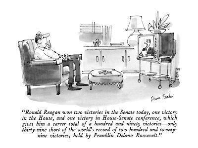"""Ronald Reagan won two victories in the Senate today, one victory in the H…"" - New Yorker Cartoon"