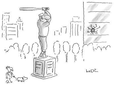 A statue of a baseball player swinging a bat; next to the statue there is … - New Yorker Cartoon