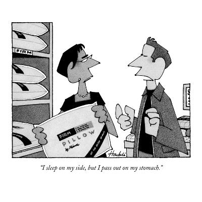 """""""I sleep on my side, but I pass out on my stomach."""" - New Yorker Cartoon"""
