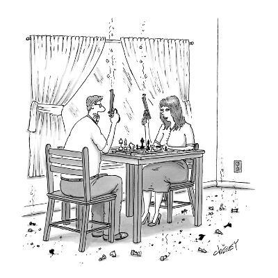 Couple holding revolvers while playing chess, with bits of chess pieces on… - New Yorker Cartoon