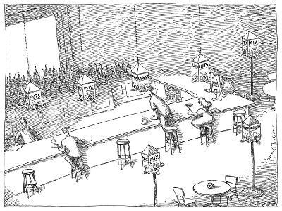 Bar patrons eating snacks from bird feeders. - New Yorker Cartoon