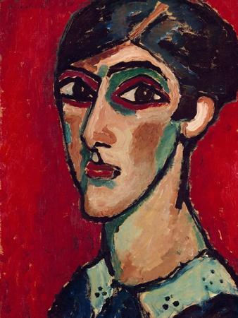 Elongated Head of a Woman in Brown-Red, 1913