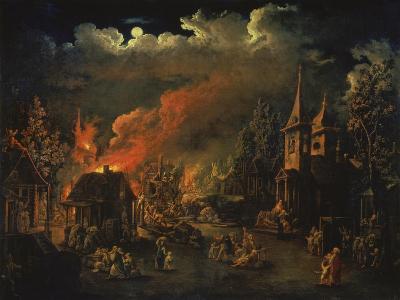 Naechtliche Feuersbrunst Im Dorf