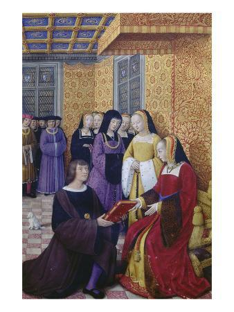 From: Le Voyage De Genes (Voyage to Genoa): Poet Jean Marot Hands over His Work to Anne of Brittany