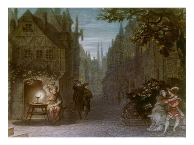 Auffuehrungsbild Von R.Wagners Meistersinger Muenchen 1868. Aquarell Von