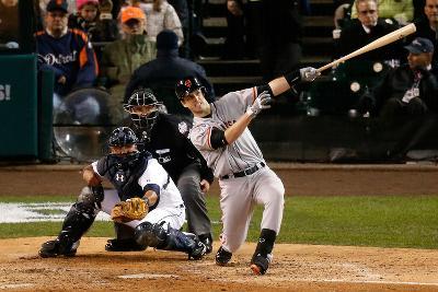 Detroit, MI - October 28: Detroit Tigers v San Francisco Giants - Buster Posey and Max Scherzer
