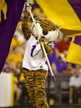 Louisiana State University: Mike the Tiger and the LSU Flag in Tiger Stadium