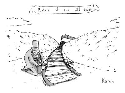 Villainous individual in old-western garb maliciously places sandwiches on… - New Yorker Cartoon