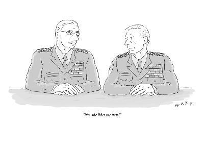"""No, she likes me best!"" - New Yorker Cartoon"