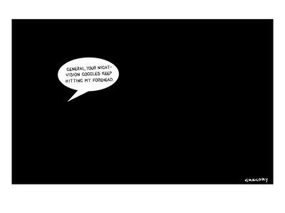 In a pitch black room a speech bubble appears, suggesting that General Pet… - New Yorker Cartoon