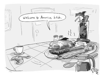 A greasy plate of pancakes, bacon, and eggs speaks to a cup of coffee, ban… - New Yorker Cartoon