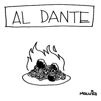 "A plate of spaghetti and meatballs is burning in flames. Title: ""Al Dante""… - New Yorker Cartoon"