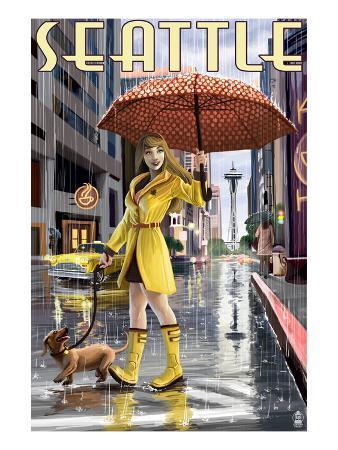Seattle, Washington - Rainy Day Girl