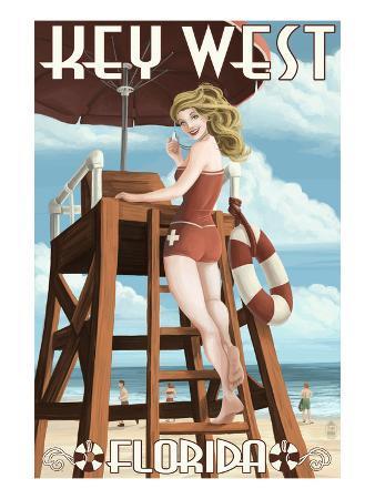 Key West, Florida - Lifeguard Pinup Girl