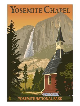 Yosemite Chapel and Yosemite Falls - California