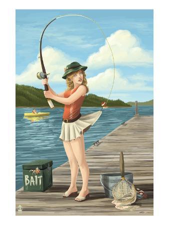 Pinup Girl Fishing on Lake