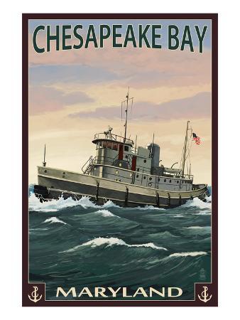 Chesapeake Bay Tugboat Scene