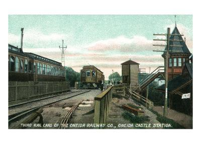Oneida Castle, New York - View of Railcars at the Station
