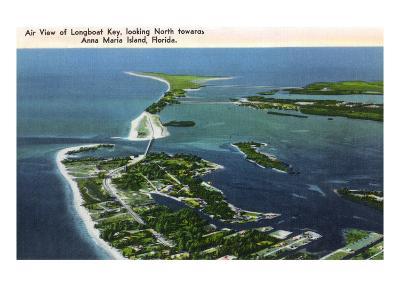 Anna Maria Island, Florida - Aerial View of Island, Longboat Key