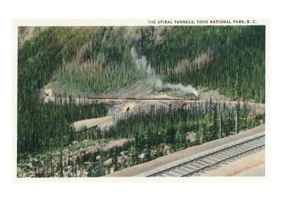 Yoho Nat'l Park, British Columbia - Trains Exiting the Spiral Tunnels