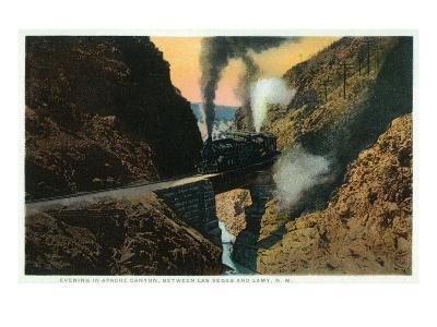 New Mexico - View of a Evening Train in Apache Canyon Between Las Vegas and Lamy