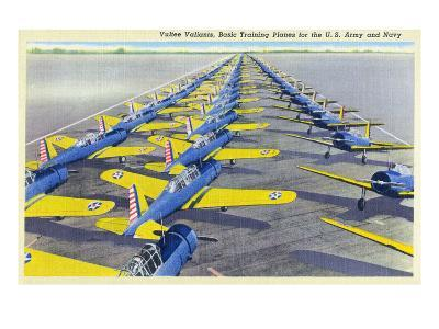 View of the Vultee Valiants, BT-13A and SN-V-1 Planes