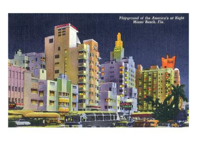 Miami Beach, Florida - City Scene at Night