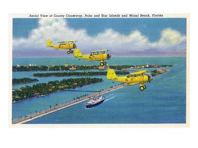 Florida - Planes Flying over Causeway, Miami Beach