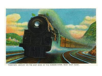 New York - 20th Century Limited Train on East Bank of Hudson River Near West Point