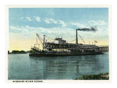 Kansas City, Missouri - View of a Steamer on the Missouri River