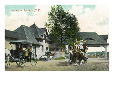 Syracuse, New York - Horse Carriages on the Boulevard
