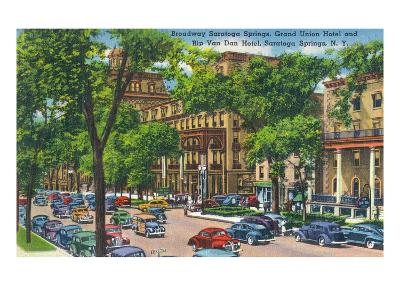 Saratoga Springs, New York - Grand Union and Rip Van Winkle Hotels View