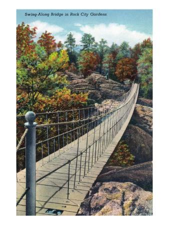 Lookout Mountain, Tennessee - View of Rock City Gardens Swing-Along Bridge
