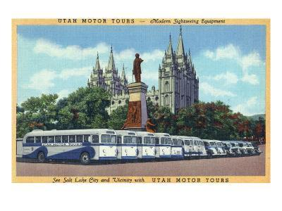 Salt Lake City, Utah - Rows of Tourbuses by the Temple
