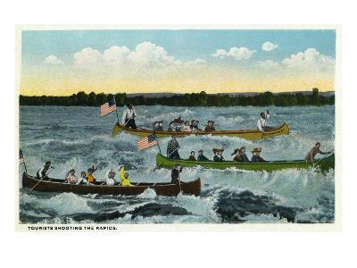 Sault Ste. Marie, Michigan - View of Tourists Shooting the Rapids in Canoes