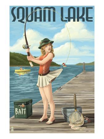 Squam Lake, New Hampshire - Pinup Girl Fishing