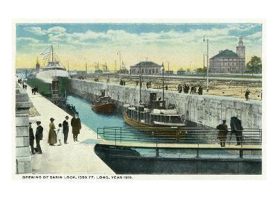 Sault Ste. Marie, Michigan - Sabin Lock Opening in 1919