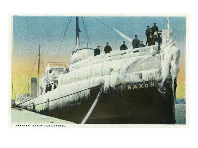 Sault Ste. Marie, Michigan - Ice Covered Saxon Steamer in Lock