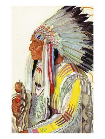 Portrait of Wades-In-The-Water, a Blackfeet Chieftain