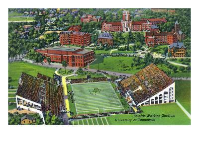 Knoxville, Tennessee - University of Tennessee, Aerial View of the Shields-Watkins Stadium
