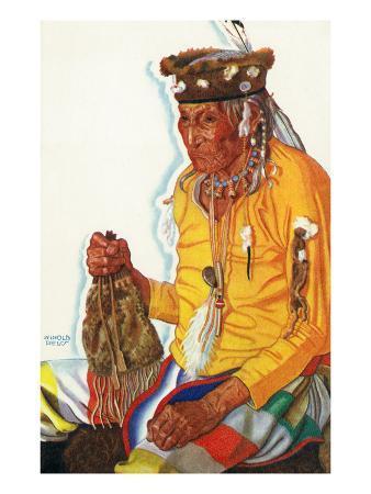 Portrait of Lazy Boy, a Blackfeet Medicine Man
