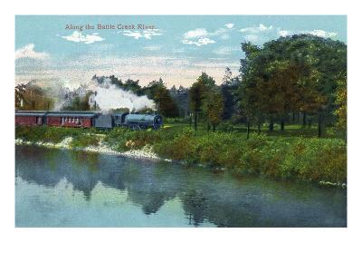 Battle Creek, Michigan - Train Along the Battle Creek River Scene