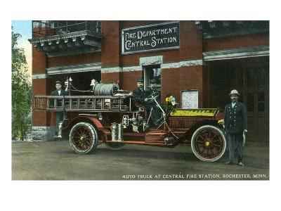 Rochester, Minnesota - Central Fire Station Exterior with Fire Truck