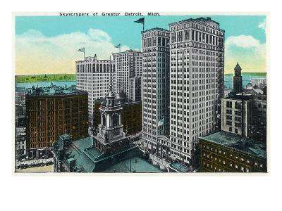 Detroit, Michigan - City Skyscrapers Scene