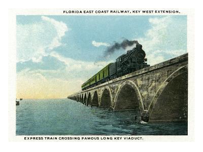 Key West, Florida - Long Key Viaduct Train Crossing Scene